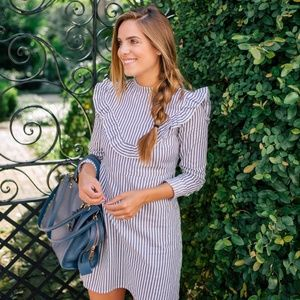 ASOS striped ruffle dress